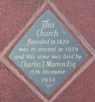 Plaque recording the church's foundation